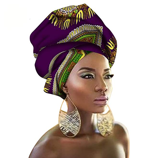 African Traditional Wax Print Head wrap Headwrap Scarf Tie, Multi-Color Urban Ladies Hair