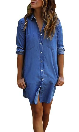 Pine forest Vestido Vaquero Mujer Azul Elegantes Manga Larga De Solapa Un Solo Pecho Casual Hippie Primavera Otoño Vestidos Cortos Vestidos Camiseros: ...
