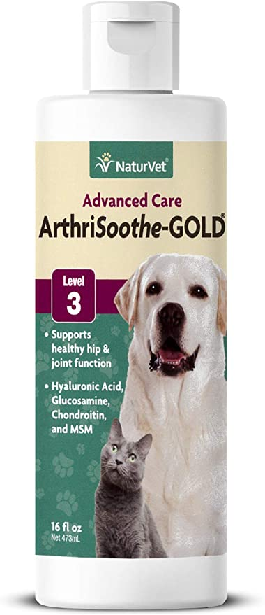 NaturVet ArthriSoothe-GOLD for Dogs Joint Supplement, Level 3 Advanced Joint Support for Dogs and Cats, Liquid, Made in the USA