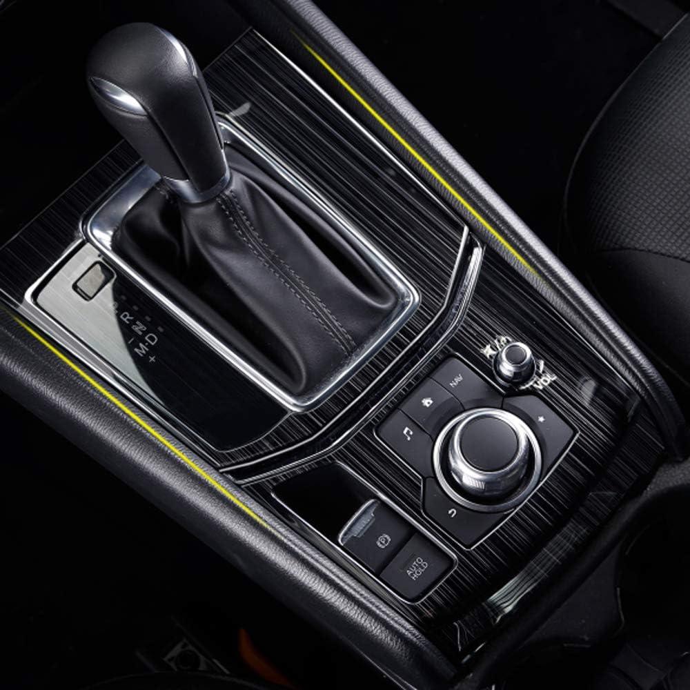 Black FENGZHIQIU Gear Shift Knob Console Media Panel Cover Trim for Mazda CX-5 CX5 2017 2018 2019 2020