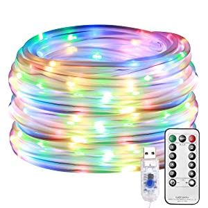 LE LED Rope Light with Remote, Multi Colored, USB Powered, Dimmable, Waterproof, 33ft 100 LED Indoor Outdoor Light Rope and String for Deck, Patio, Bedroom, Boat, Camping, Landscape Lighting and More