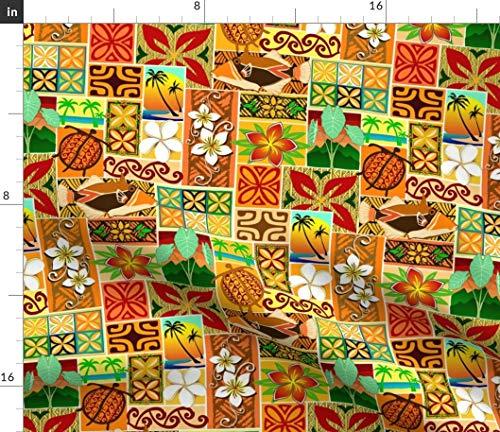 Spoonflower Hawaiian Fabric - Tiki Tropical Retro Cartoon Kitschy Sunny by Madtropic Printed on Silky Faille Fabric by The Yard - Retro Hawaiian Fabric