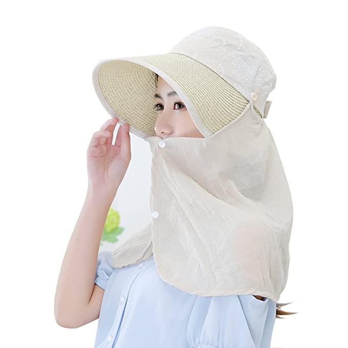 SUPERCB Women Sun Hat Fishing Outdoor Flap Cap Neck Cover Face Mask  Removable Visor Beige 61d83c1ac8