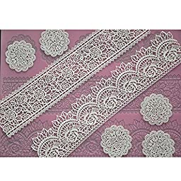 FOUR-C Lace Silicone Mat Silicone Mold Cake Decorating Supplies Color Pink