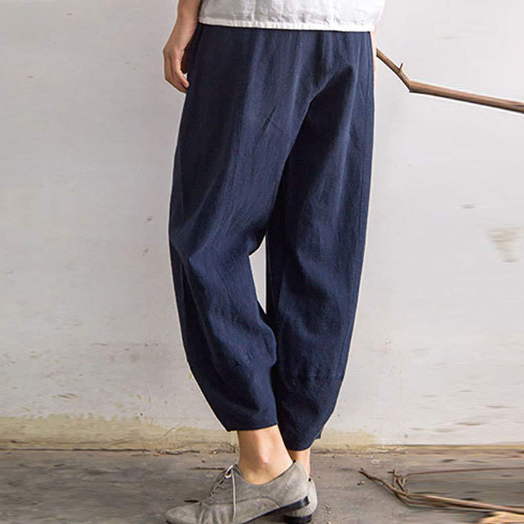 ANJUNIE Women High Waist Loose Comfortable Pants Soft Long Palazzo Petite All Around Comfort Trousers