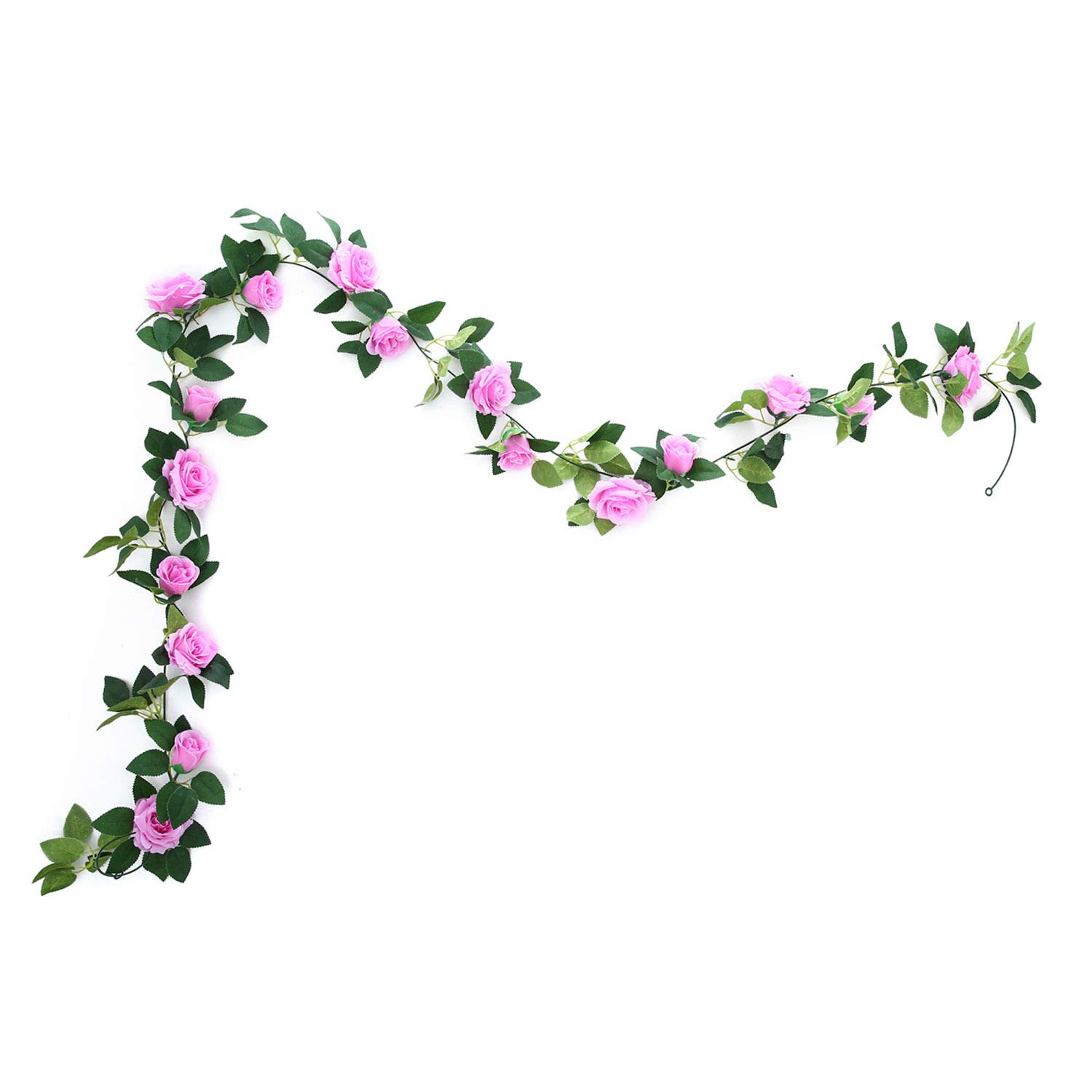 MEHELANY Artificial Rose Vine Flowers with Green Leaves 7.5ft Fake Silk Rose Hanging Vine Flowers Garland Ivy Plants for Home Wedding Party Garden Wall Decoration (Cream) (prule, 1)…