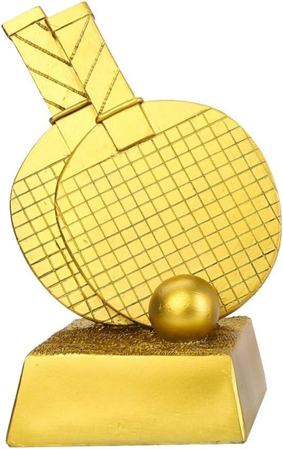 Trophy Deportes Fútbol, Tenis de Mesa Copa Premio de Oro, láser Letras Libres, Hogar Artesanía Adornos, 5,1 Pulgadas x 5,1 Pulgadas x 9,8 Pulgadas