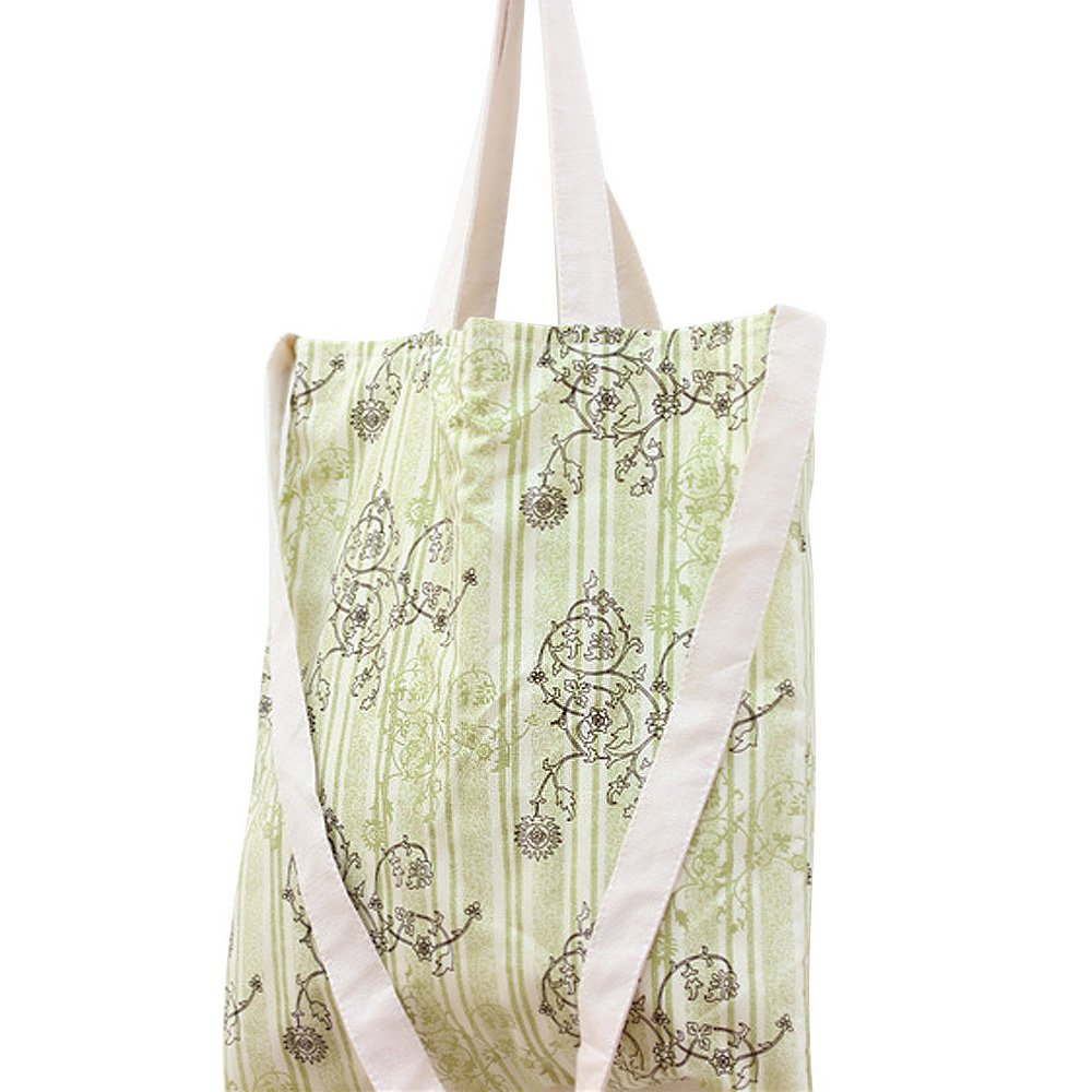 Flowertree Womens Vine Floral Pattern Convertible Canvas Tote Bag Green