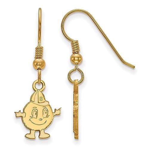 Lex /& Lu LogoArt Sterling Silver w//GP Syracuse University Small Dangle Earrings LAL140750