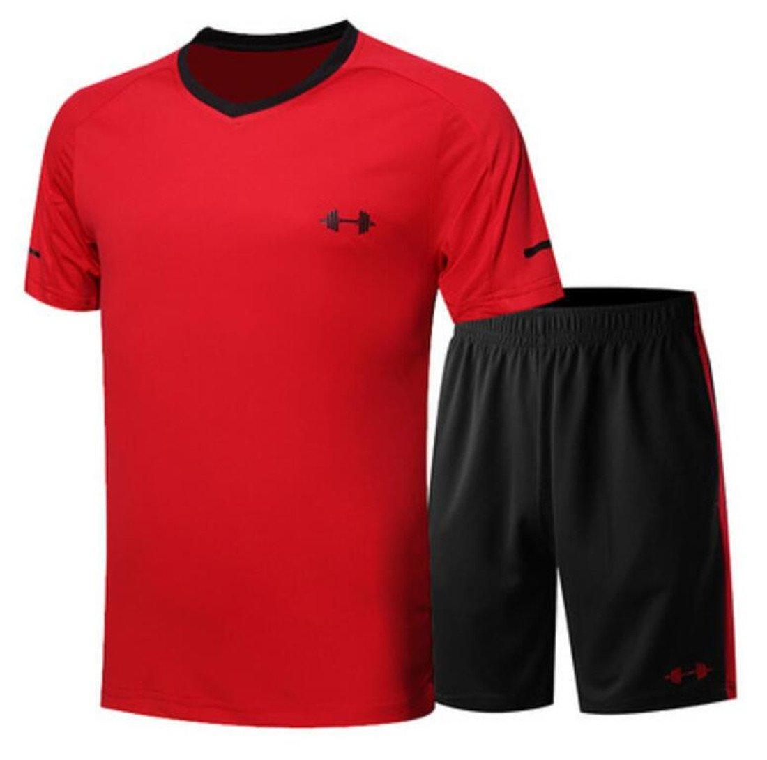 CRYYU Men Workout T-Shirts Shorts Short Sleeve 2 Pieces Tracksuit Outfit Set