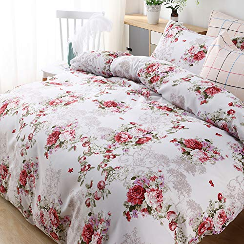 Candid Bedding Duvet Cover Set Printed 5 Piece Duvet Cover 4 Pillow Shams Ultra Soft with Zipper Closure Reversible (Twin, Pink Flower)