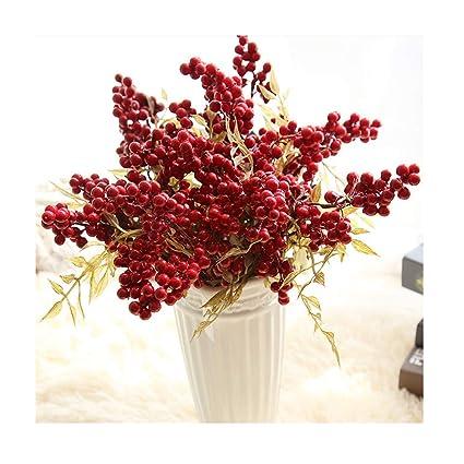 Christmas Flower Arrangements Images.Amazon Com 10pcs Red Berries Artificial Bouquet Artificial