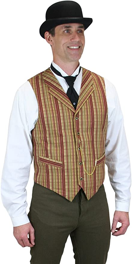 Victorian Men's Vests and Waistcoats Historical Emrpoium Mens Bailey Striped Cotton Dress Vest $66.95 AT vintagedancer.com