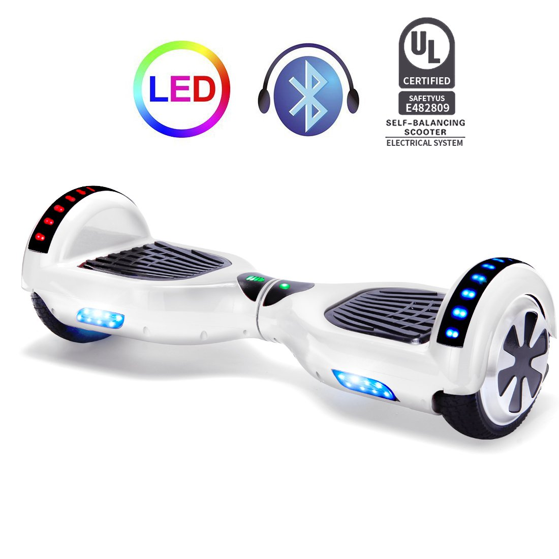 STF-Life UL 2272 Certified Hoverboard with Bluetooth Speaker and LED Lights, Smart Personal Two- Wheel Electric Self Balancing Scooter Transporter for Kids and Adults-White