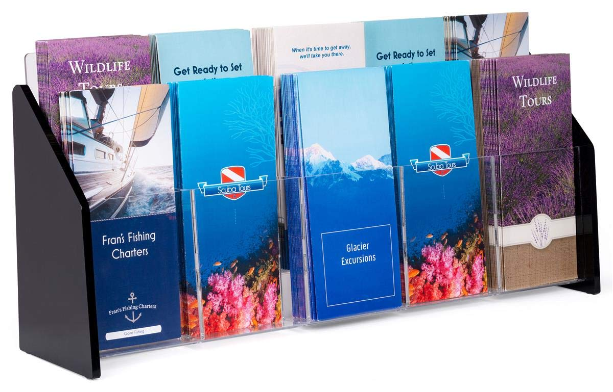 TRS10 Displays2go Clear Acrylic Brochure Holders with 10 Pockets for 4 x 9 Inches Pamphlets Countertop Literature Racks with Black Acrylic Sides