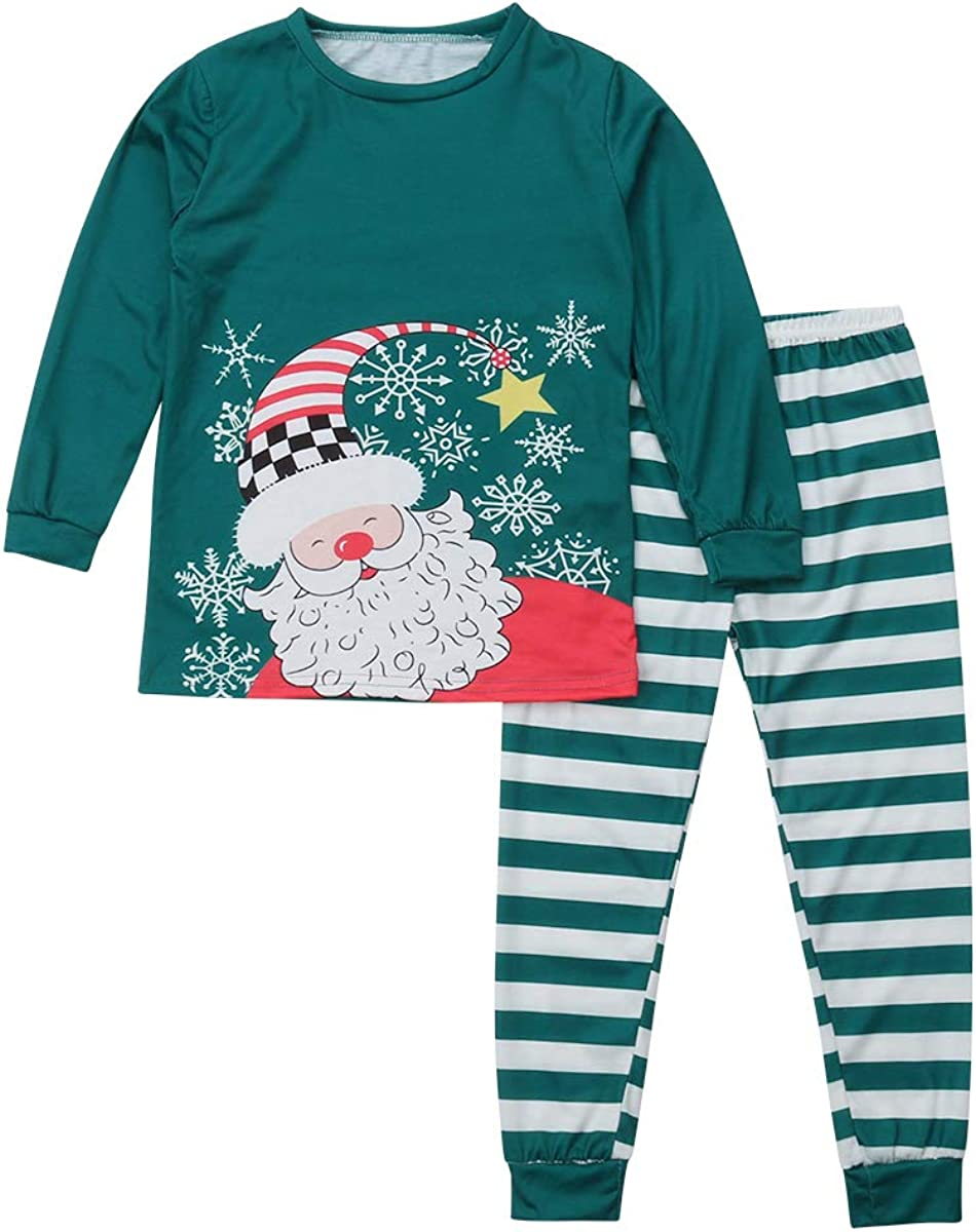 Pajamas Set for Christmas for Families Santa Claus Mouth Protection Graphic Long Sleeve Tops Plaid Pants Set Sleepwear