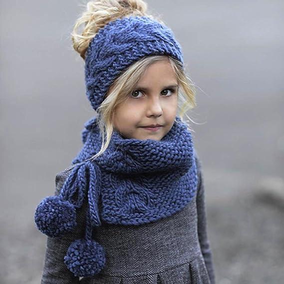 Amlaiworld Bufandas Bebé Sombreros hechos a mano de punto de invierno de niñas  bebé Gorros con capucha (A 9390fbff69e