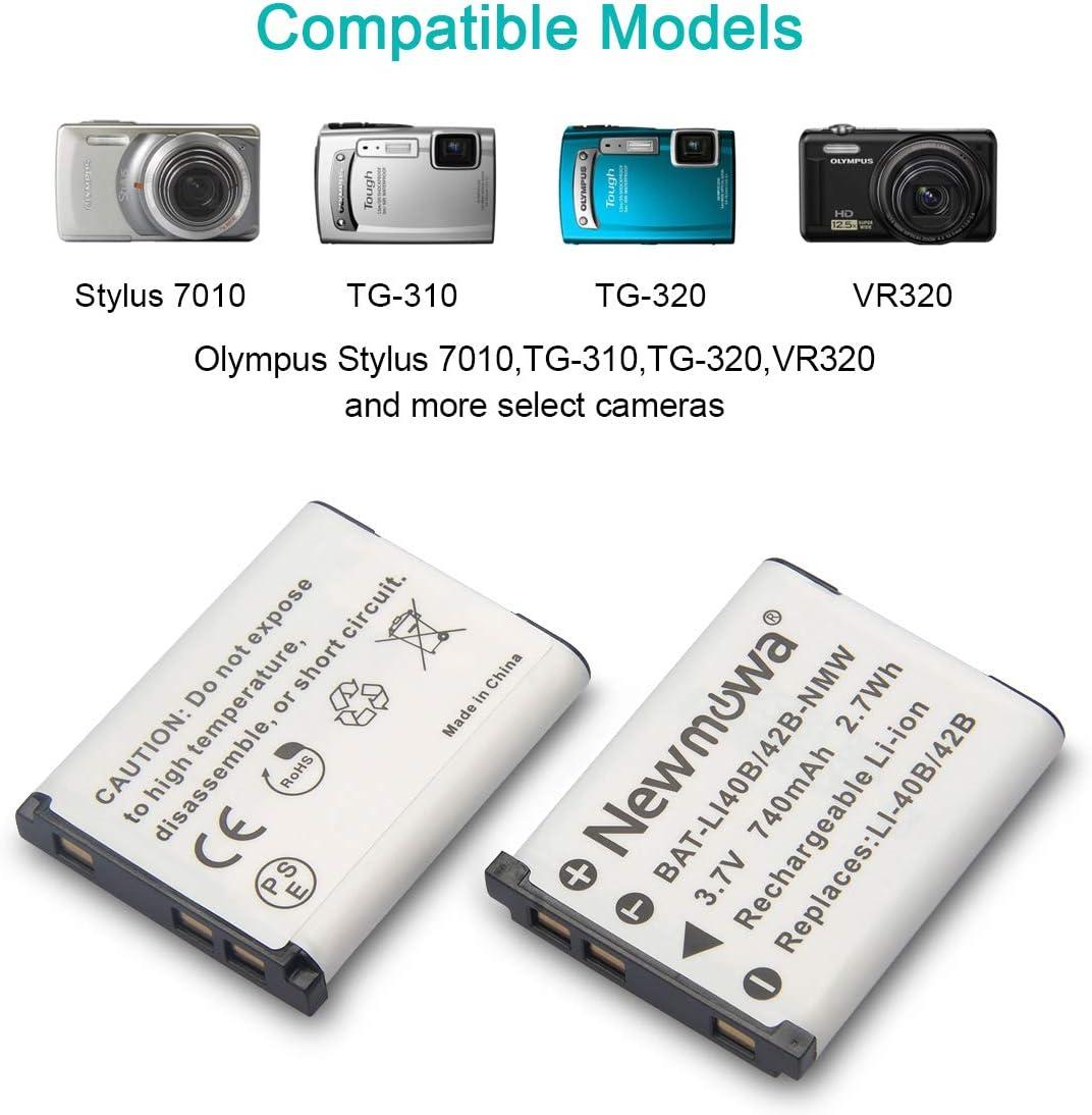 SZ-15 SZ-31MR iHS SZ-30MR SZ-16 iHS TG-830 iHS TG-630 iHS TG-810 SZ-12 TG-610 Newmowa Li-50B Battery SZ-20 and Dual USB Charger Kit for Olympus LI-50B and Olympus SZ-10 TG-820 2 Pack