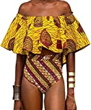 Pxmoda Women's Off Shoulder Ruffle Flounce Bikini African Swimwear Sexy Tube Bikini Bathing Suit (XL)