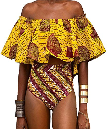 Pxmoda Women's Off Shoulder Ruffle Flounce Bikini African Swimwear Sexy Tube Bikini Bathing Suit (XL) by Pxmoda