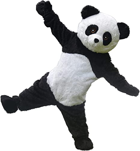 Long Fur Chinese Panda Bear Animal Mascot Costume Suits Cosplay Game Adults Size