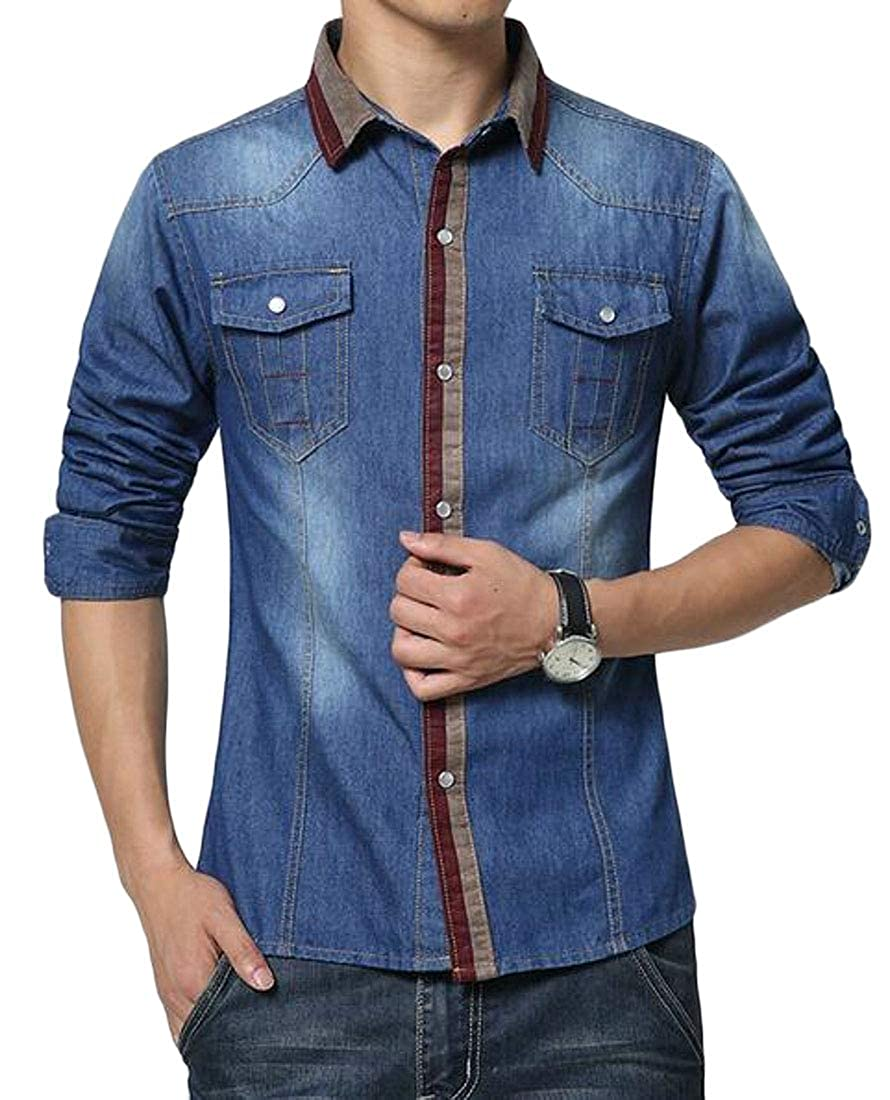 ARTFFEL Mens Long Sleeve Button Up Slim Fit Washed Casual Denim Work Western Shirt