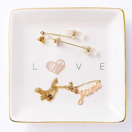 Handmade trinket jewellery storage bowl tray with mixed gold glitter and tiny love hearts.
