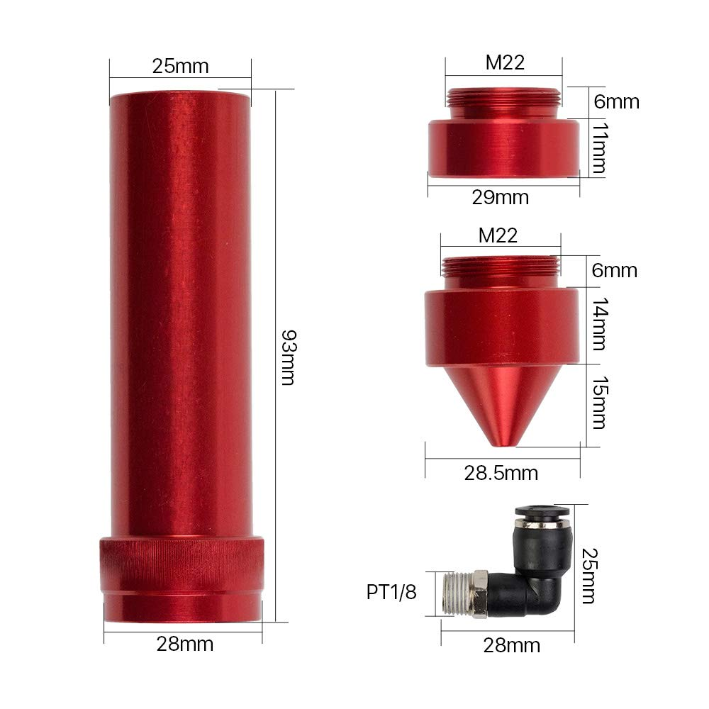 Cloudray E Series CO2 Laser Head for Focusing Lens D20mm FL 50.8mm /& 63.5mm /& 101.6mm for Laser Engraving Cutting Machine