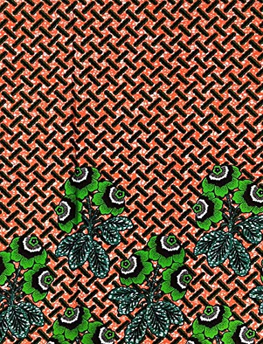 Wholesale African Print Fabric African Ankara Wax Print 6 Yards 100% Cotton Flower Print African Printed Dresses for Women & Men - Coral Orange Background & Green/Mrytle Green Flower Print
