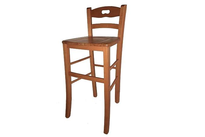 Sgabello sedia snack legno massello noce naturale cilegio con