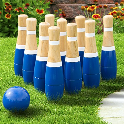 Lawn Bowling Game/Skittle Ball- Indoor and Outdoor Fun for Toddlers, Kids, Adults -10 Wooden Pins, 2 Balls, and Mesh Bag Set by Hey! Play! (8 Inch) -