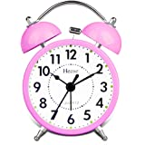 Classical Retro Twin Bell Alarm Clocks Mute Silent Quartz Movement Non Ticking Sweep Second Hand Bedside Desk Analog Morning Wake Up Alarm Clock with Nightlight Backlight and Loud Alarm HA01 Pink