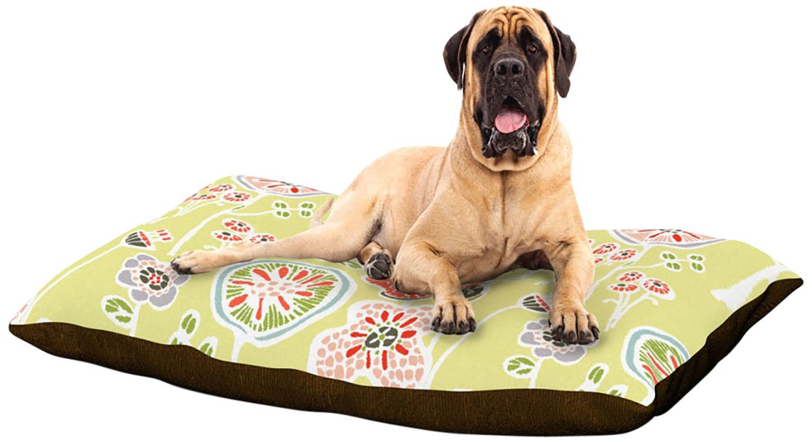 Folky Floral Lemon X-Large 40\ Folky Floral Lemon X-Large 40\ Kess InHouse Gill Eggleston Folky Floral Lemon  Dog Bed, 50 by 60-Inch, Green Yellow