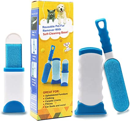 Red Easy to Clean Lint Remover for Furniture Cat and Other Pet Hair with Improved Handle Carpet and Bedding Fur Magic Reusable Pet Hair Remover Roller for Dog Sofa