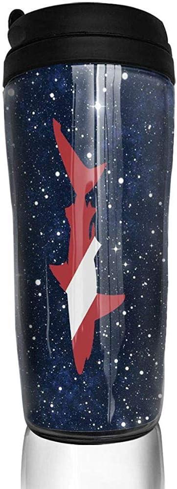 Taza Divertida del café de la Curva de la Bandera del Buceo con escafandra del tiburón, Botella