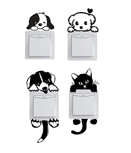 Amazoncom Cute Set Of 12 Pet Dog Cat Black Wall Plug Decal Sticker