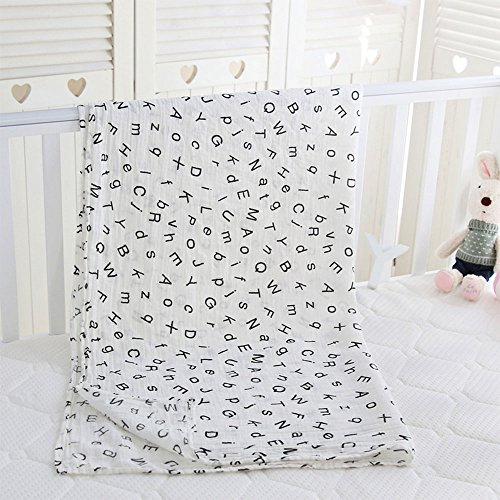 Muslin Swaddle Blankets Stroller Cover Blanket Wrap 3.9x3.9 FT Baby Receiving Blankets for Boys and Girls Alphabet