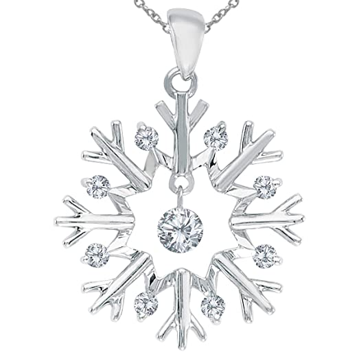 Amazon 10k white gold dashing diamonds snowflake pendant with 10k white gold dashing diamonds snowflake pendant with 18quot mozeypictures Gallery