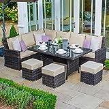 Outdoor Rattan Garden Furniture Casual Corner Dining Set by Nova - Cambridge Left Hand Corner Sofa with 1.5m x 90cm Rectangular Table and Footstools - Brown Flat Weave