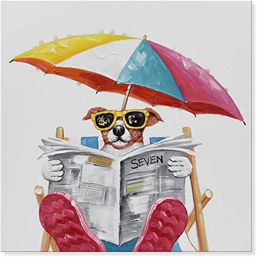 JAPO ART – Animal Summer Holiday Dog 100 Hand Painted Oil Painting with Stretched Frame Wall Art for Home Decor Dog Reading Newspaper on The Beach Chair, 24 x 24 Inch
