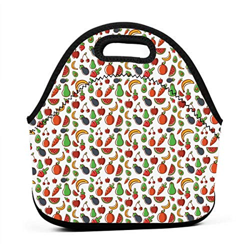 Uuiuou Fruit Tart Portable Outdoor Bento Large Hand Lunch Bag Baby Bag Satchel Tote Gift for Student Worker Travel Mummy ()