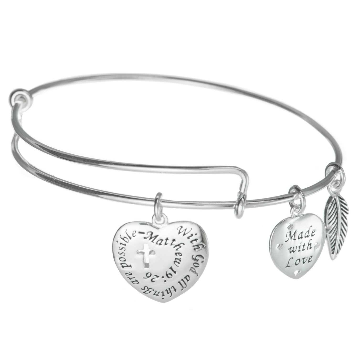 925 Sterling Silver With God All Things Are Possible Charm Adjustable Wire Bangle