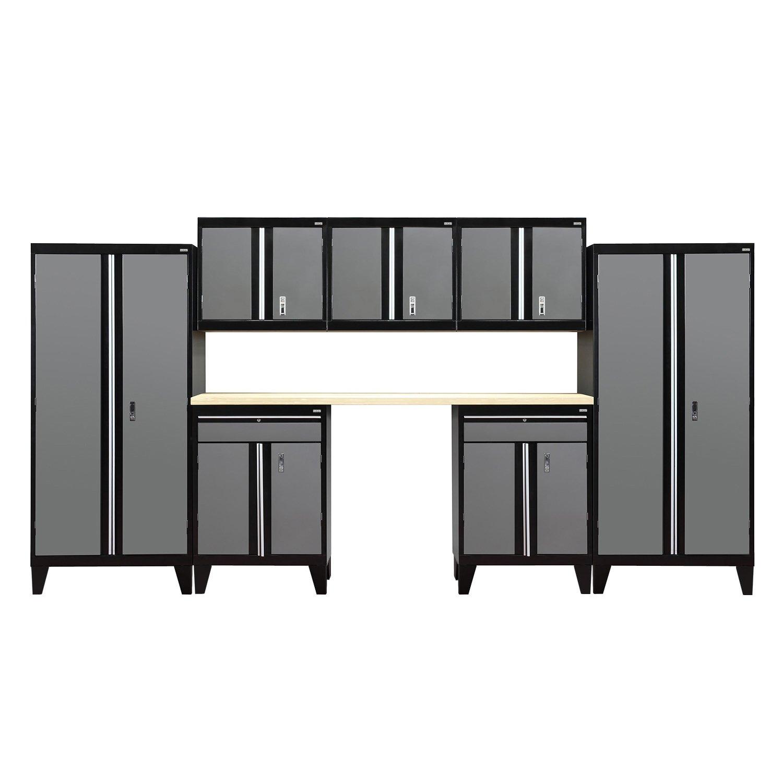 Sandusky Lee GS08-029L Modular Garage Welded Storage System, 72'' Height x 18'' Depth x 162'' Width, Black/Charcoal (Pack of 8)