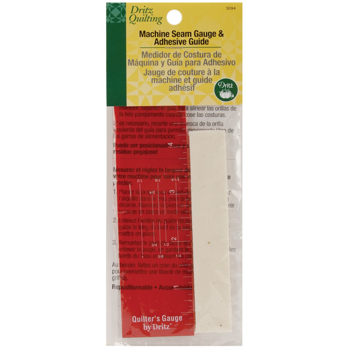 Dritz Various Quilting Machine Seam Gauge and Adhesive Guide 3094