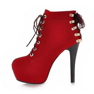 YINHAN Women's Platform Pumps Lace up Stiletto High Heels Shoes