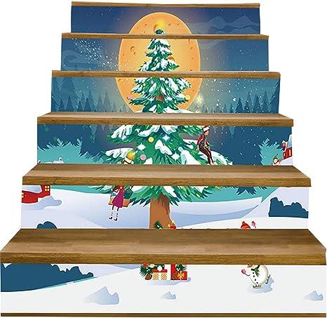 LTT& 3D Árbol De Navidad Etiquetas Engomadas De La Escalera Impermeable Papel Pintado Autoadhesivo Escaleras Risers Pegatinas para Escalera O Decoración del Hogar: Amazon.es: Deportes y aire libre