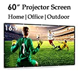 60 Inch Portable Projector Screen 16:9 HD Anti-Crease Wide Projection Screens White Plastic Material Ultra Lightweight for Home Theater/Office/Outdoor Camp