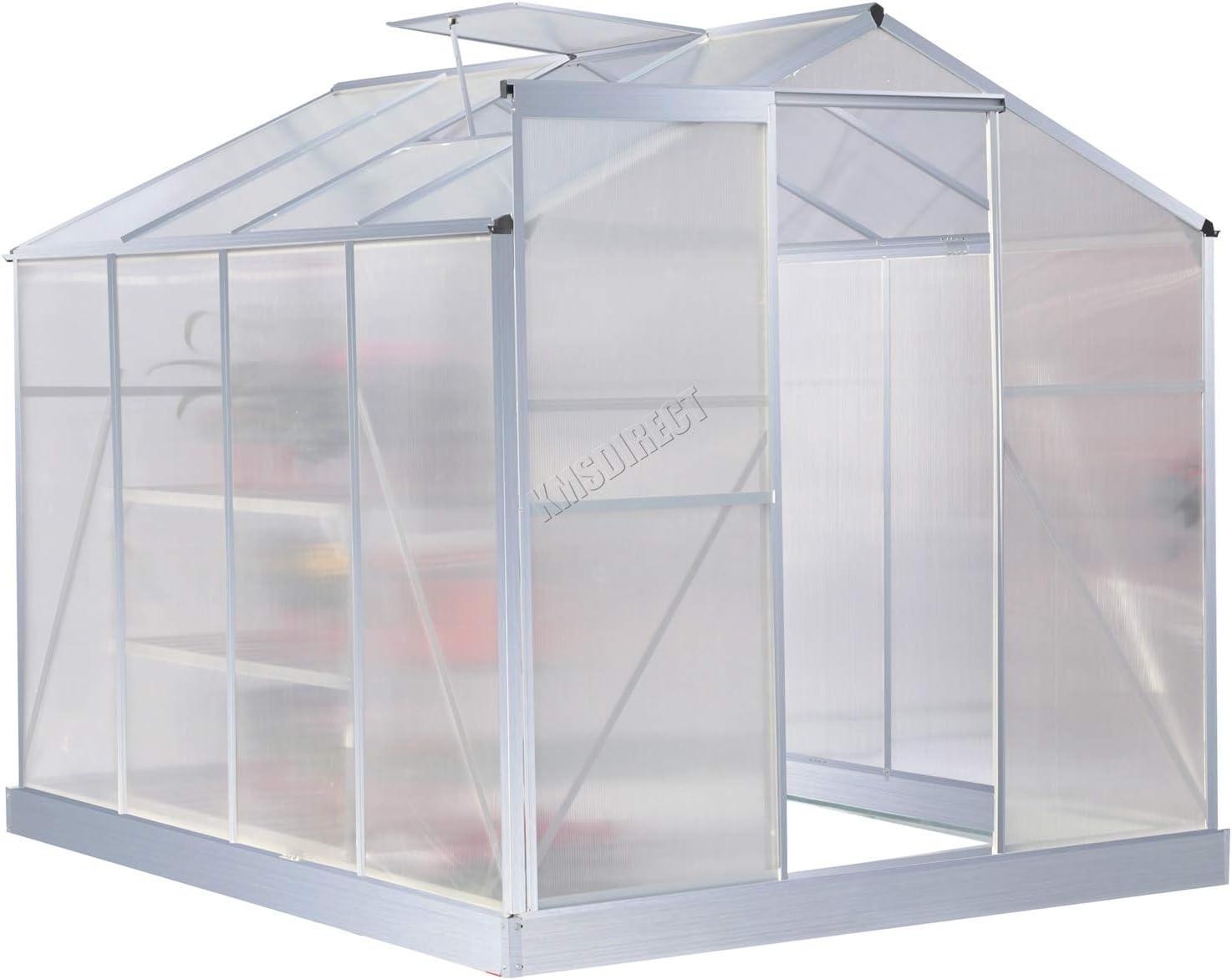 FoxHunter para invernaderos policarbonato transparente estructura de aluminio con Foundation Base y para puerta Slide plateado 8 x 182, 88 cm: Amazon.es: Jardín