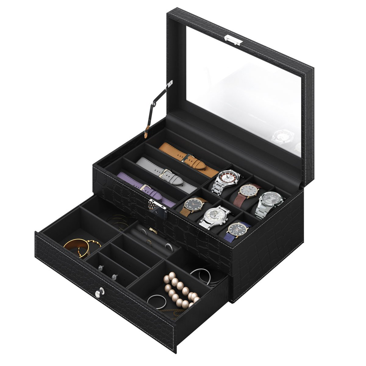 CRITIRON Watch Case Display Organizer for Men, Jewelry Storage Box for Women, PU Leather Watch Cabinet with Drawer and Glass Top, 2 Layers(Black)