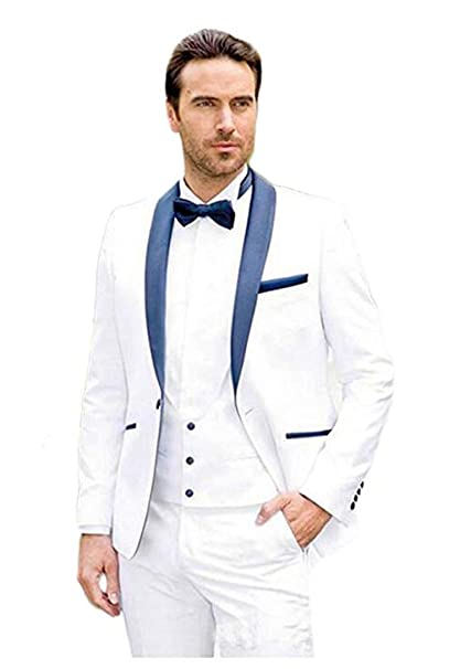 HSLS Mens Shawl Lapel Suit White Slim Fit 3 Pieces Wedding ...